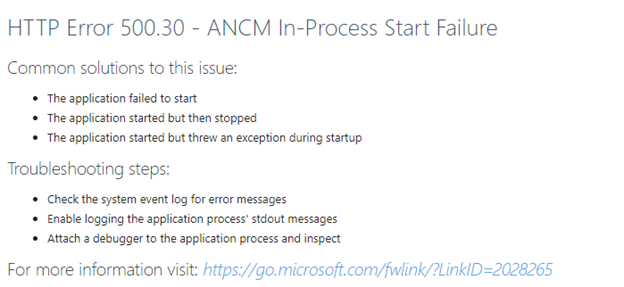 ACNM In-Process Start Failure